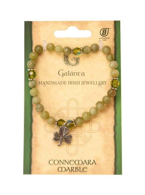 6mm Shamrock Connemara Marble Charm bracelet (Handmade In Ireland)