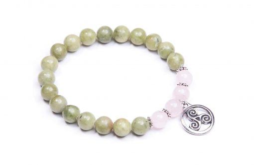Rose quartz Connemara marble Trisklion Knot charm bracelet (Handmade In Ireland)