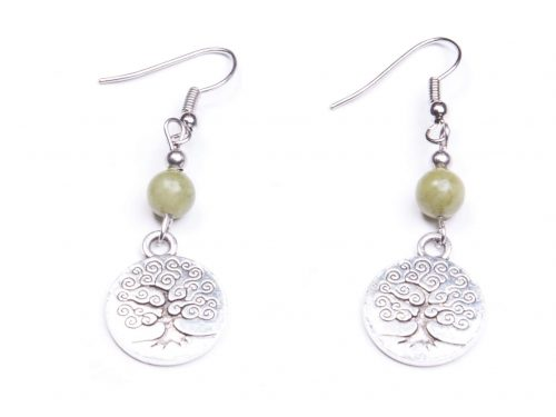 Small Connemara Marble engraved tree of life Earrings (Handmade In Ireland)