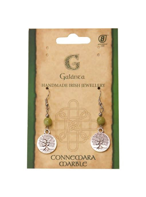 Small Connemara Marble engraved tree of life Earrings (Handmade In Ireland)