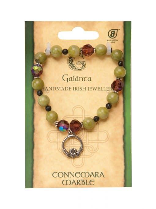 Preciosa Crystal & Connemara Marble claddagh bracelet (Handmade In Ireland)