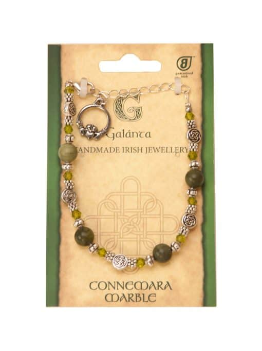 Preciousa Crystal and Connemara Marble Claddagh (Handmade In Ireland)