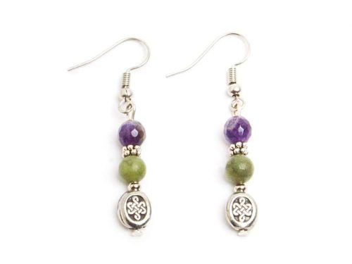 Faceted Amethyst & Connemara Celtic Knot Earrings