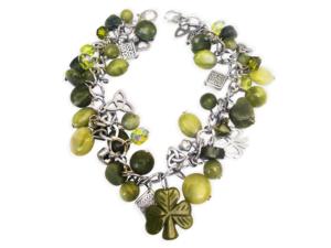 Connemara Marble Shamrock & Irish Symbols Bracelet