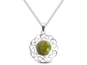 Connemara Marble Celtic Knot Pendant ( Sterling Silver)